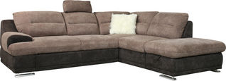 SEDEŽNA GARNITURA,  sivo rjava, peščena tekstil  - sivo rjava/krom, Design, kovina/tekstil (264/88/217cm) - Welnova