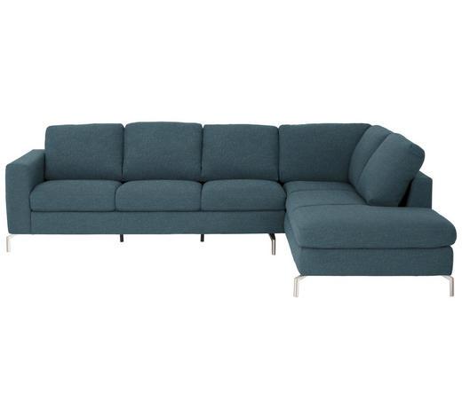 WOHNLANDSCHAFT in Textil Blau  - Blau/Edelstahlfarben, Design, Textil/Metall (292/208cm) - Natuzzi Editions