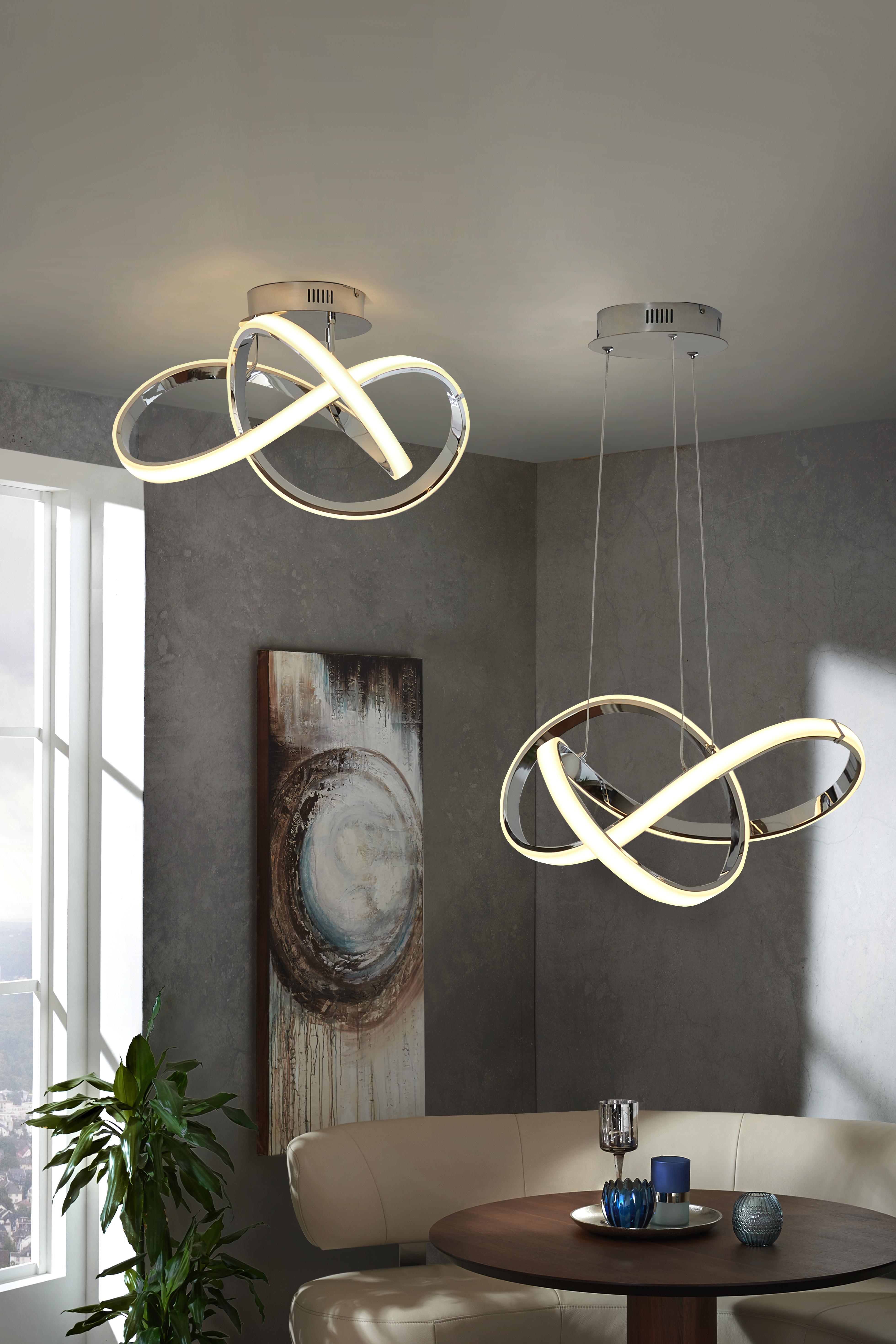 LED-TAKLAMPA - kromfärg, Design, metall/plast (59/29/59cm) - Ambiente