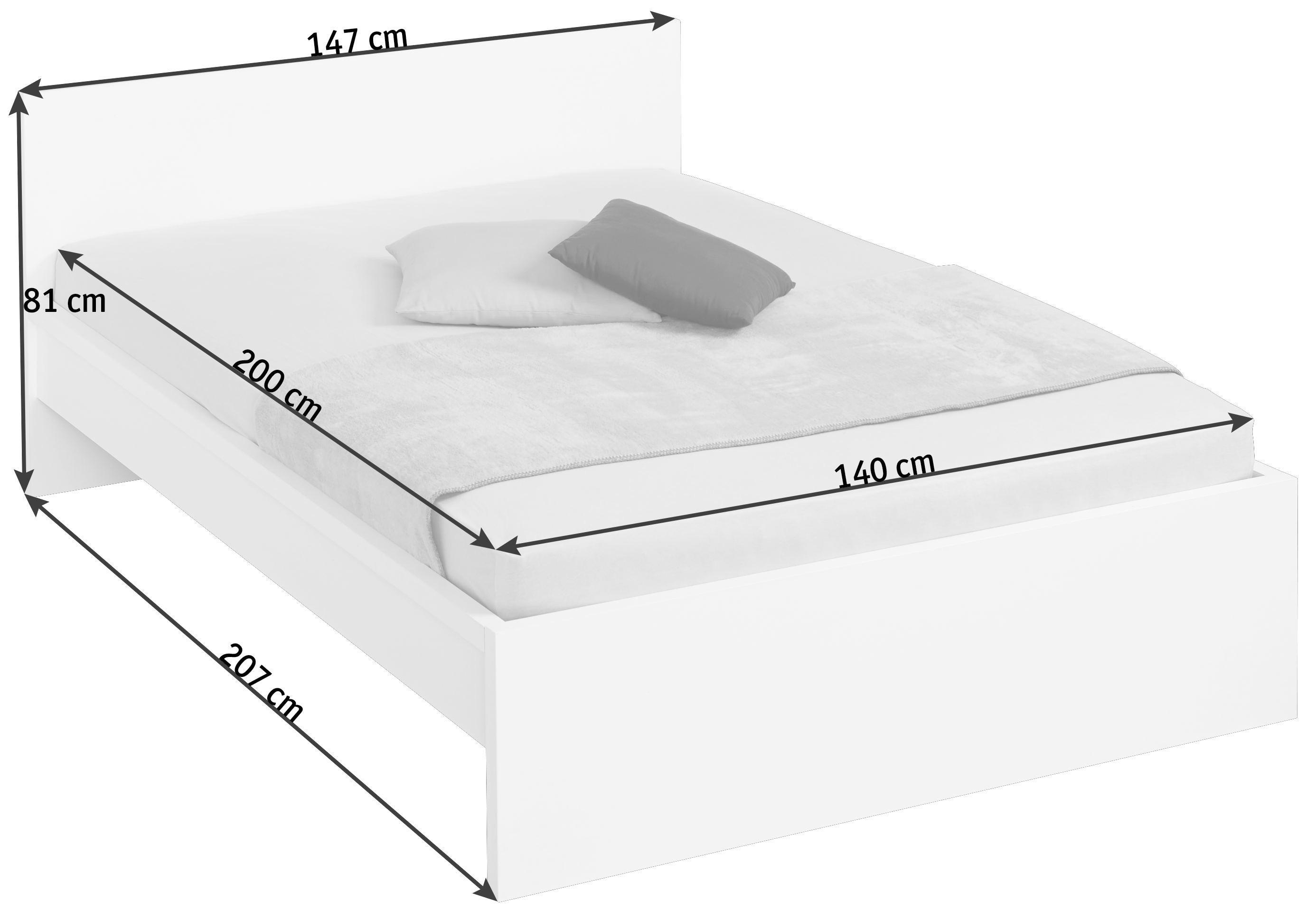 BETT - Weiß, Design, Holzwerkstoff (147/81/207cm) - CARRYHOME