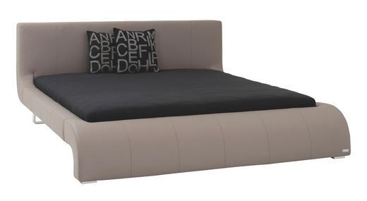 ČALOUNĚNÁ POSTEL, 180 cm  x 200 cm, kůže, šedá - šedá/barvy chromu, Design, kov/kůže (180/200cm) - Joop!