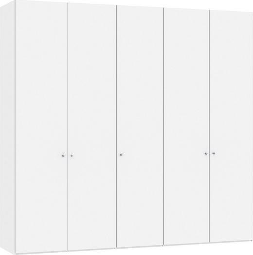 DREHTÜRENSCHRANK 5-türig Weiß - Silberfarben/Weiß, Design, Holzwerkstoff/Metall (252,8/236/58,5cm) - Jutzler