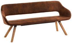 SITZBANK Mikrofaser Braun, Eichefarben  - Eichefarben/Hellgrau, Design, Holz/Textil (180/83/59cm) - Valnatura