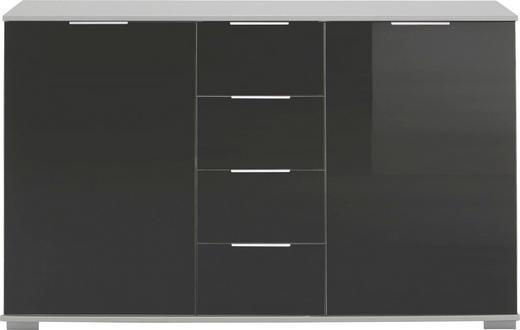 KOMMODE Schwarz, Weiß - Chromfarben/Schwarz, Design, Glas/Holzwerkstoff (130/83/41cm) - CARRYHOME