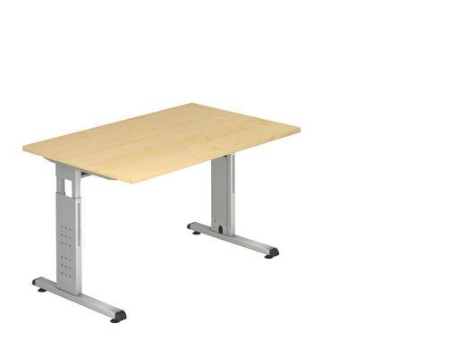 SCHREIBTISCH - Silberfarben/Ahornfarben, KONVENTIONELL, Holzwerkstoff/Metall (120/65-85/80cm)