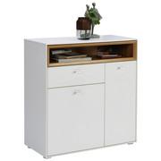 BOTNÍK - bílá/barvy stříbra, Design, kompozitní dřevo/umělá hmota (83/90/35cm) - Hom`in