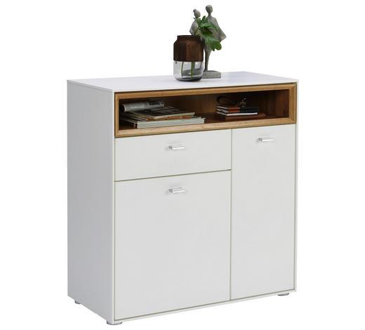 BOTNÍK, bílá, barvy dubu,  - bílá/barvy stříbra, Design, kompozitní dřevo/umělá hmota (83/90/35cm) - Hom`in