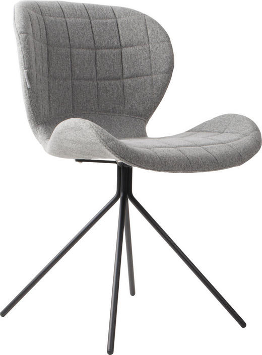 STUHL Hellgrau - Hellgrau/Schwarz, Design, Textil/Metall (51/56/80cm)