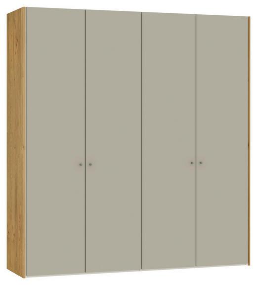 DREHTÜRENSCHRANK 4-türig Eiche furniert Eichefarben, Sandfarben - Sandfarben/Eichefarben, Design, Glas/Holz (205,1/220/58,5cm) - Jutzler