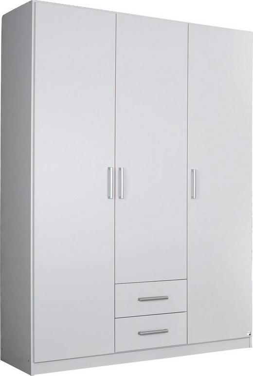 DREHTÜRENSCHRANK Weiß - Silberfarben/Weiß, Design, Holzwerkstoff/Kunststoff (136/197/54cm) - Carryhome