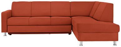 WOHNLANDSCHAFT in Textil Orange  - Chromfarben/Orange, Design, Textil/Metall (256/198cm) - Xora