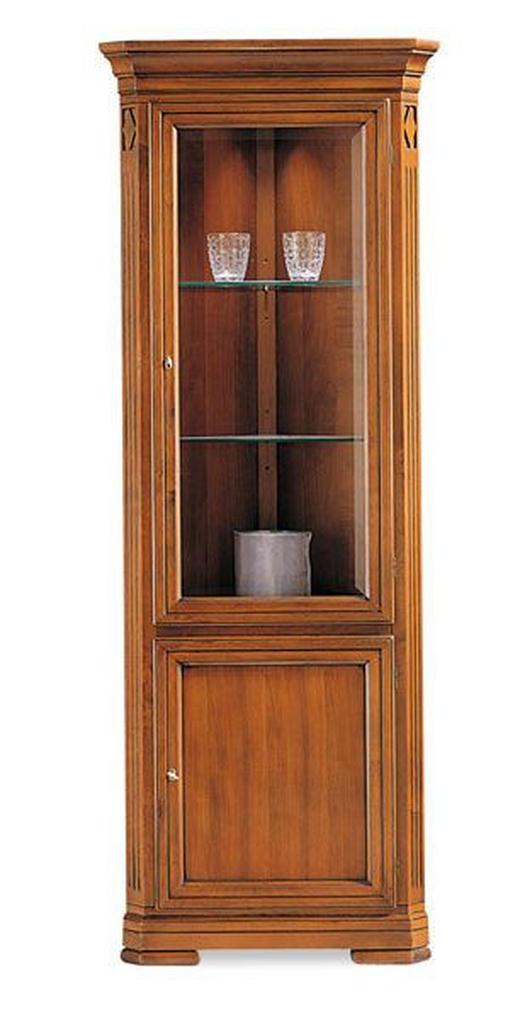 ECKVITRINE in furniert, massiv Kirschbaum Kirschbaumfarben - Kirschbaumfarben, LIFESTYLE, Glas/Holz (71/195/42cm) - Selva