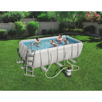 POOL SET RECTANGULAR 56457 - Blau/Hellgrau, Basics, Kunststoff/Metall (412/201/122cm) - Bestway