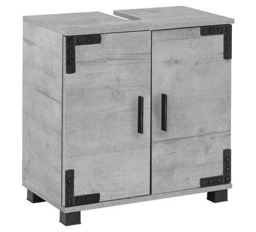 WASCHBECKENUNTERSCHRANK Grau  - Schwarz/Grau, LIFESTYLE, Holzwerkstoff/Kunststoff (60/63/33cm) - Stylife