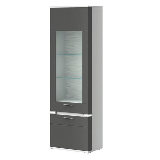 VITRINE Graphitfarben, Weiß - Graphitfarben/Alufarben, Design, Glas/Metall (65,1/207,4cm) - Stylife