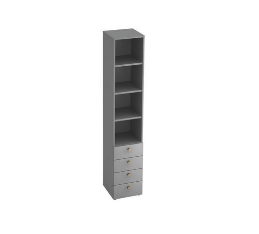 REGAL in Grau, Silberfarben  - Silberfarben/Alufarben, KONVENTIONELL, Holzwerkstoff/Metall (40/215,6/42cm)