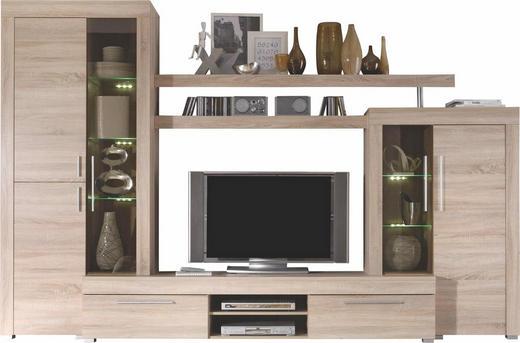 WOHNWAND Eichefarben - Eichefarben/Silberfarben, Design, Glas/Holzwerkstoff (308/212/50cm) - Carryhome