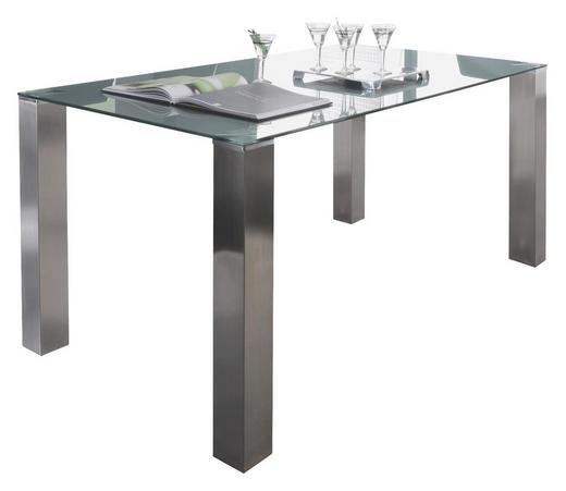 ESSTISCH rechteckig Edelstahlfarben, Grau - Edelstahlfarben/Grau, Design, Glas/Metall (120/80/77cm) - Dieter Knoll
