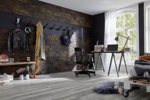 WANDVERKLEIDUNG - Teakfarben, Holz (56/20/1-2cm)