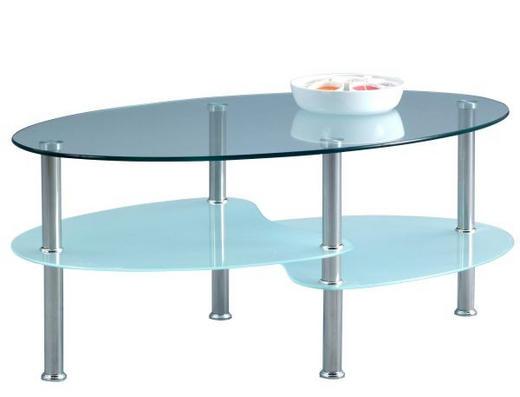 KLUBSKA MIZA, 90 40 55 cm prozorna, krom - krom/prozorna, Design, kovina/steklo (90 40 55cm) - Xora