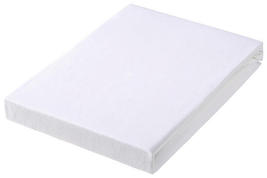 SPANNBETTTUCH Jersey Weiß bügelfrei, für Wasserbetten geeignet - Weiß, Basics, Textil (150/200cm) - BOXXX
