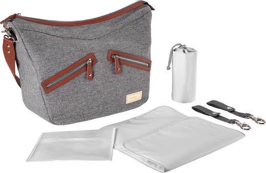 Groovy Twill  WICKELTASCHE - Beige/Grau, Design, Textil (40/30/35cm) - Jimmylee
