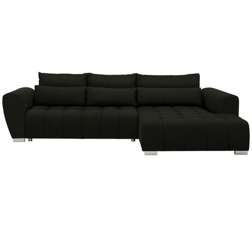 WOHNLANDSCHAFT in Textil Dunkelgrün  - Dunkelgrün/Silberfarben, MODERN, Kunststoff/Textil (304/218cm) - Carryhome