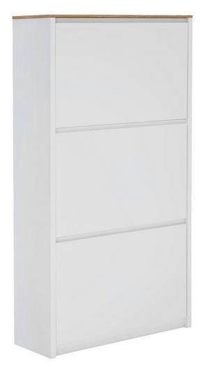 SKOSKÅP MED LUCKOR - vit/ekfärgad, Design, träbaserade material (69,6/127,5/24,8cm) - Carryhome