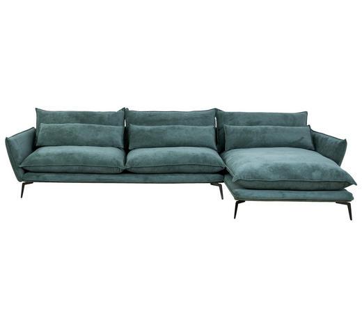 WOHNLANDSCHAFT in Textil Grün - Schwarz/Grün, Design, Textil/Metall (338/165cm) - Hom`in