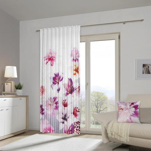 Fertigvorhang mit Kissen 40x40  transparent  140/245 cm - Beere, Design, Textil (140/245cm) - Esposa