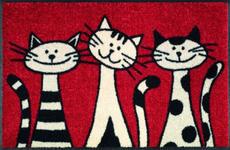 FUßMATTE 50/75 cm Katze Rot, Schwarz, Weiß - Rot/Schwarz, Basics, Kunststoff/Textil (50/75cm) - Esposa