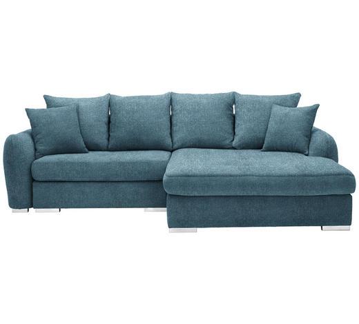 WOHNLANDSCHAFT in Textil Blau - Chromfarben/Blau, Design, Kunststoff/Textil (275/195cm) - Carryhome