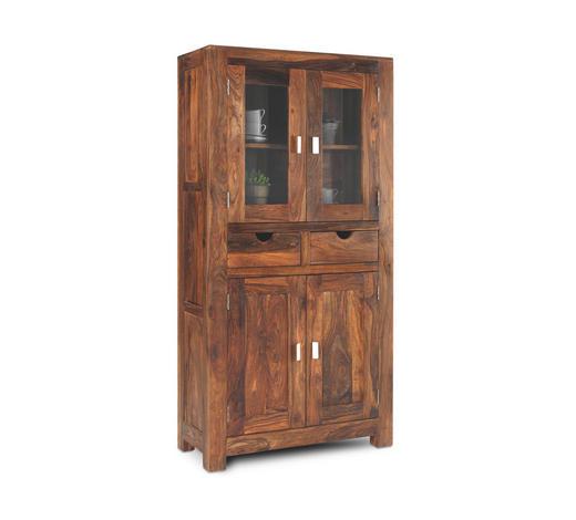 VITRÍNA, barvy sheesham - barvy sheesham, Lifestyle, kov/dřevo (90/180/40cm) - Landscape