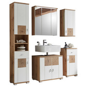 BADEZIMMER - Eichefarben/Weiß, Design, Glas/Holzwerkstoff (146/190/40cm) - Xora