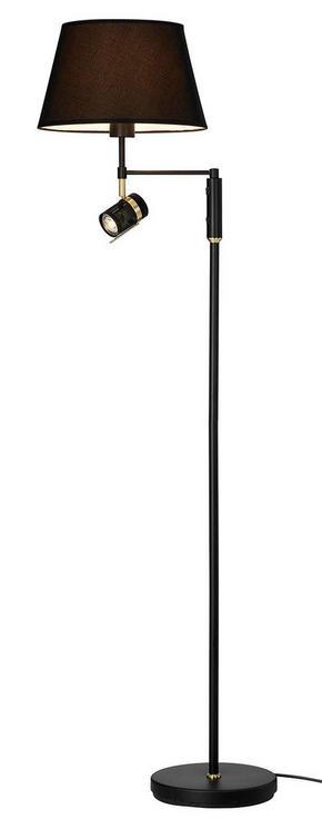 GOLVLAMPA - kromfärg/svart, Design, metall/textil (1320cm)