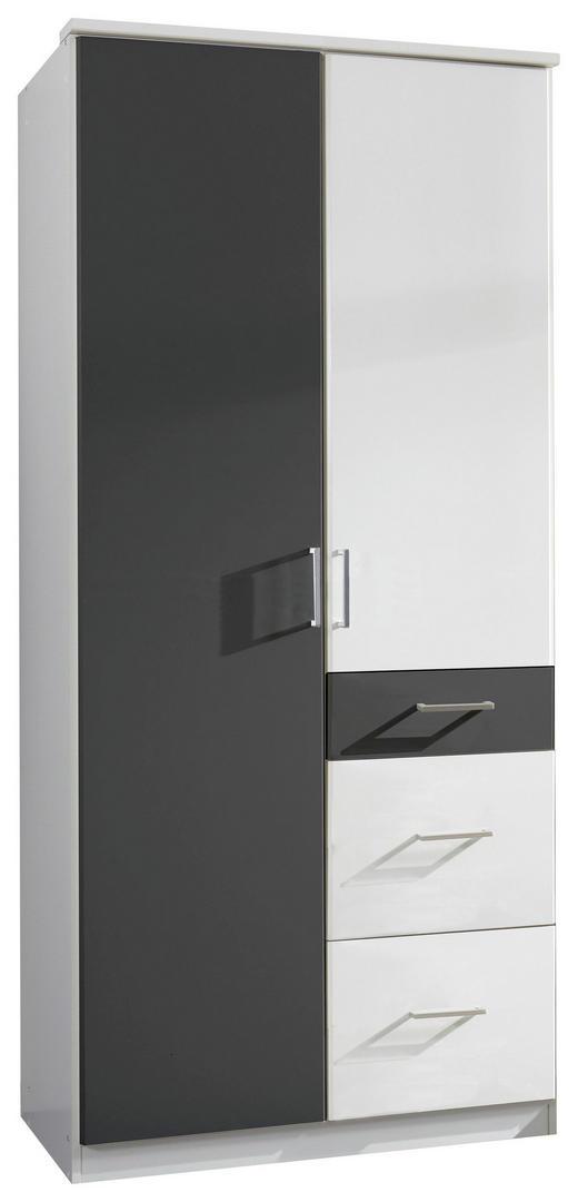 DREHTÜRENSCHRANK 2-türig Graphitfarben, Weiß - Graphitfarben/Alufarben, Design, Holz/Holzwerkstoff (90/199/58cm) - Carryhome