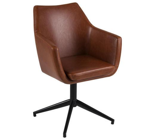 DREHSTUHL Lederlook Braun  - Schwarz/Braun, Design, Textil/Metall (58/85,5/56,5cm) - Carryhome