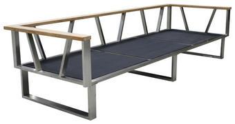 3-SITZER-BANK Teakholz  Edelstahl - Edelstahlfarben/Grau, Design, Holz/Textil (239/59/82,5cm) - Zebra Süd