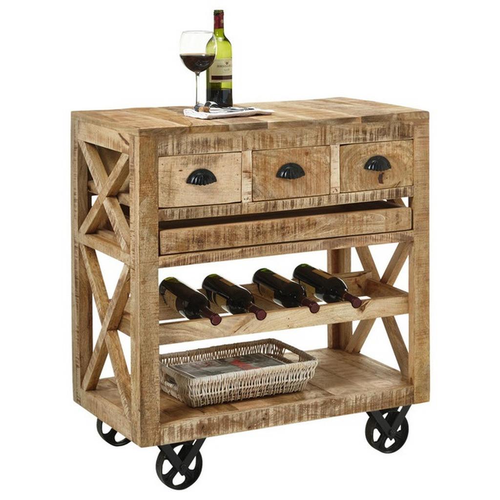Livetastic Barwagen mangoholz massiv braun , Ferdi , Holz , 3 Schubladen , 46x93 cm , lackiert,Echtholz , mit Flaschenhaltern, abnehmbares Tablett , 000572025501