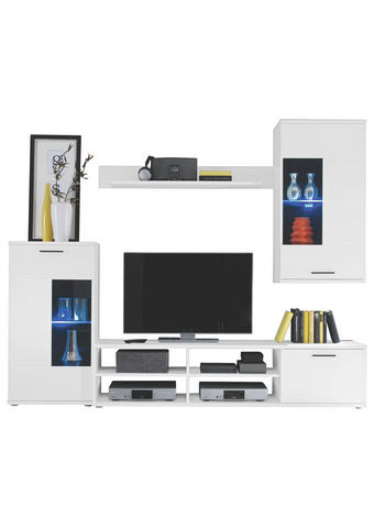 REGAL ZA DNEVNI BORAVAK - bijela/antracit, Design, staklo/drvni materijal (230/185/38cm) - Boxxx