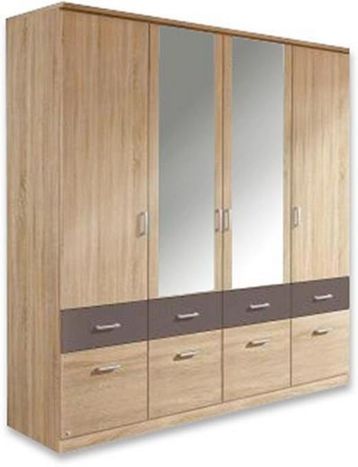KLEIDERSCHRANK 4-türig Eichefarben, Grau - Eichefarben/Silberfarben, Basics, Holz/Kunststoff (181/199/56cm) - Carryhome