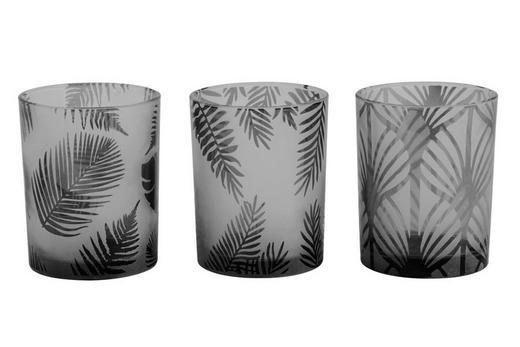 TEELICHTHALTER-SET 3-teilig - Schwarz, MODERN, Glas (10/12,5cm)