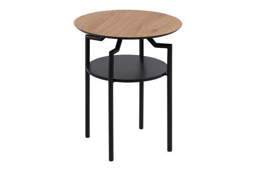 BEISTELLTISCH rund Eichefarben, Schwarz - Eichefarben/Schwarz, Design, Metall (45/55/45cm) - Carryhome