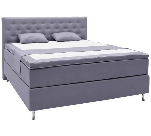BOXSPRINGBETT 140/200 cm  in Violett  - Violett/Alufarben, KONVENTIONELL, Holzwerkstoff/Textil (140/200cm) - Elegando