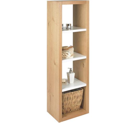 REGAL in 40/135/30 cm Weiß, Eichefarben  - Eichefarben/Weiß, Basics, Holz/Holzwerkstoff (40/135/30cm) - Novel