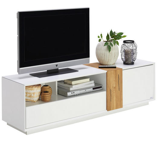 LOWBOARD - Eichefarben/Weiß, Design, Holz/Holzwerkstoff (160cm) - Carryhome