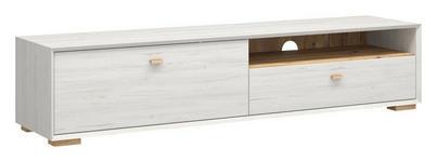 LOWBOARD melaminharzbeschichtet Weiß - Eichefarben/Weiß, Design, Holz (187/41/45cm) - Linea Natura