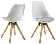 STUHL Flachgewebe Weiß, Hellgrau  - Eichefarben/Hellgrau, Design, Holz/Kunststoff (48/82/56cm) - Carryhome