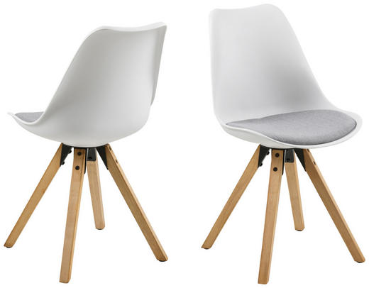 STUHL Flachgewebe Hellgrau, Weiß - Eichefarben/Hellgrau, Design, Holz/Kunststoff (48/82/56cm) - Carryhome