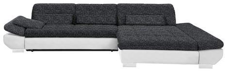 WOHNLANDSCHAFT in Anthrazit, Weiß Textil - Chromfarben/Anthrazit, Design, Kunststoff/Textil (341/204cm) - Xora
